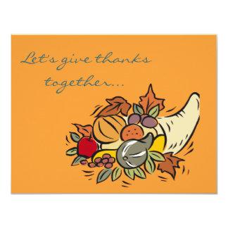 Horn o' plenty Thanksgiving Design 11 Cm X 14 Cm Invitation Card