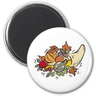 Horn o' plenty Thanksgiving Design 6 Cm Round Magnet