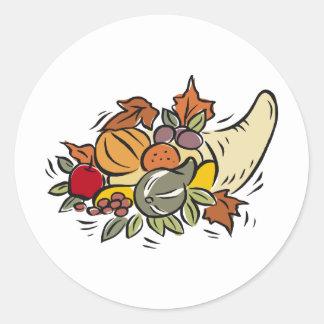 Horn o' plenty Thanksgiving Design Round Sticker