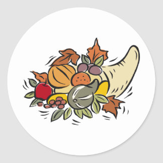 Horn o' plenty Thanksgiving Design Round Sticker