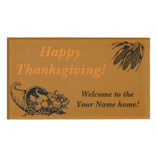 Horn of Plenty and Corn for a Happy Thanksgiving Name Tag