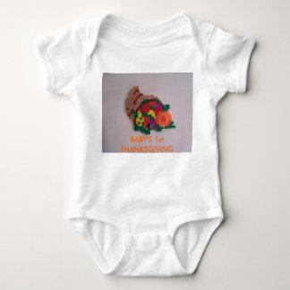 Horn of Plenty,  BABY'S 1st THANKSGIVING Baby Bodysuit