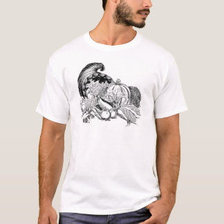 Horn of Plenty Cornucopia Woodcut T-Shirt