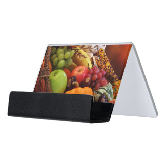 Horn Of Plenty Desk Business Card Holder