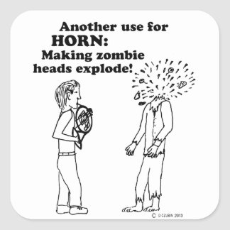 Horn Zombie Explode Stickers