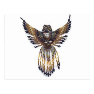 Horned beaded Owl Postcard