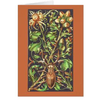 Horned Beetle in Brown Card