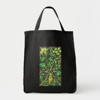 Horned Beetle in Gold and Green Vintage Print Grocery Tote Bag