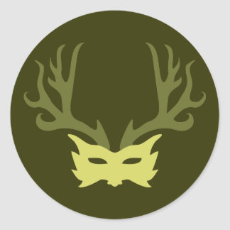 Horned God Mask Classic Round Sticker