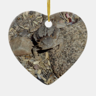 Horned Lizard Ceramic Heart Decoration