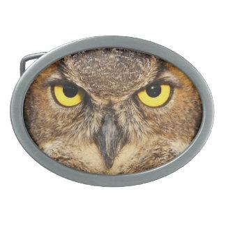 Horned Owl Face Oval Belt Buckle