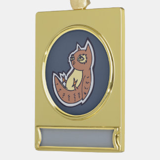 Horned Owl On Its Back Light Belly Drawing Design Gold Plated Banner Ornament