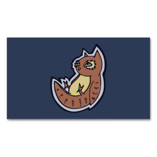 Horned Owl On Its Back Light Belly Drawing Design Magnetic Business Cards