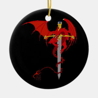Horned Red Dragon With Jeweled Ornate Sword Christmas Ornament