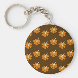 Hornflower on brown basic round button key ring