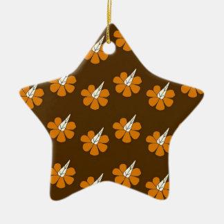 Hornflower on brown christmas ornament