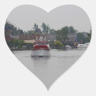 Horning On The River Bure Heart Sticker