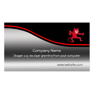 Horns, Grinning Gremlin, red swoosh, metal-look Pack Of Standard Business Cards