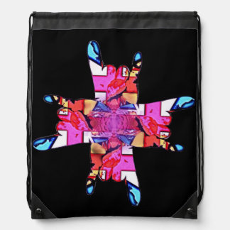Horns Union Flag Lotus Mandala Drawstring Backpack