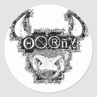 horny clear classic round sticker