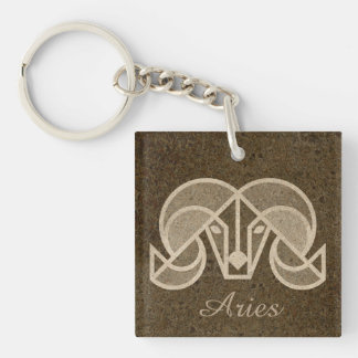 "Horoscope Sign ""Aries"" Zodiac Symbol Key Chain"