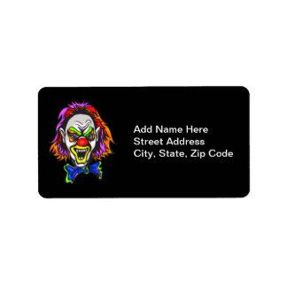 Horrid Evil Clown Address Label