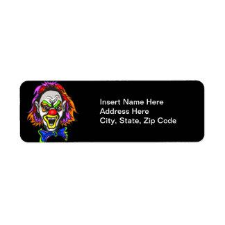 Horrid Evil Clown Return Address Label
