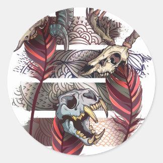 Horror Animal Curse Skeleton Skull Classic Round Sticker