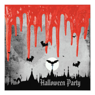 "Horror Blood & Bats Halloween Party 5.25"" Square Invitation Card"