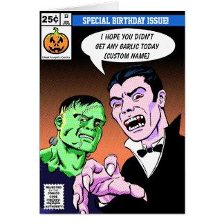 Horror comic style birthday cards
