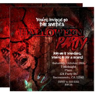 Horror Hall Zombie Halloween Party Invitations