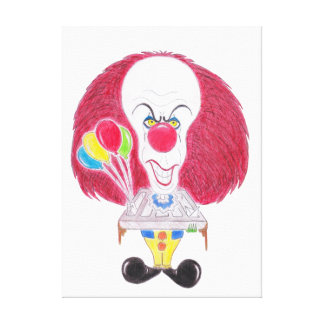 Horror Movie Clown Caricature Drawing Canvas