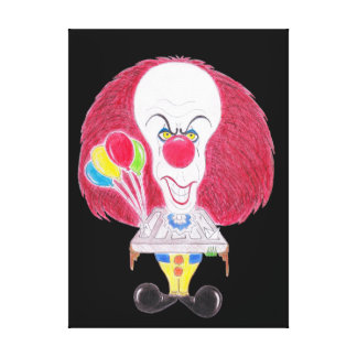 Horror Movie Clown Caricature Drawing Canvas Canvas Print
