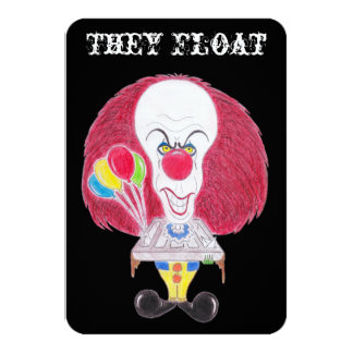 Horror Movie Clown Caricature They Float Card