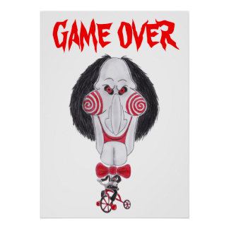 Horror Movie Game Over Puppet Caricature Poster