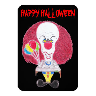 Horror Movie Happy Halloween Clown Caricature Card