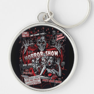 Horror movie Monsters spook show Silver-Colored Round Key Ring