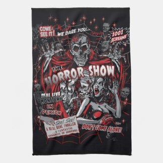 Horror movie Monsters spook show Tea Towel