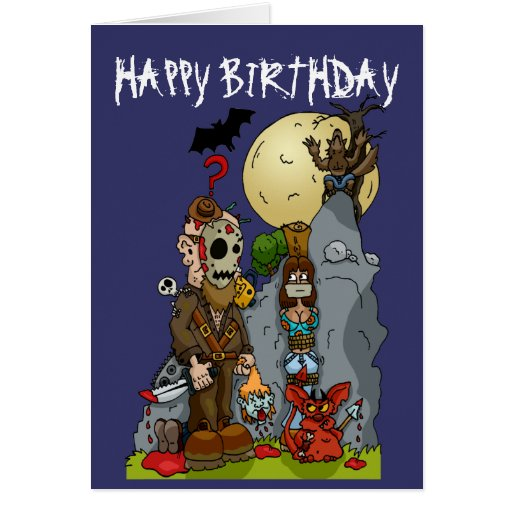 horror mural birthday card