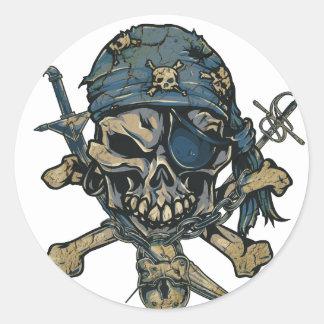 Horror Pirate Skull Classic Round Sticker