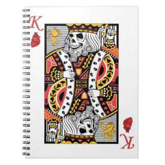 Horror Skeleton King Playing Card Spiral Notebooks