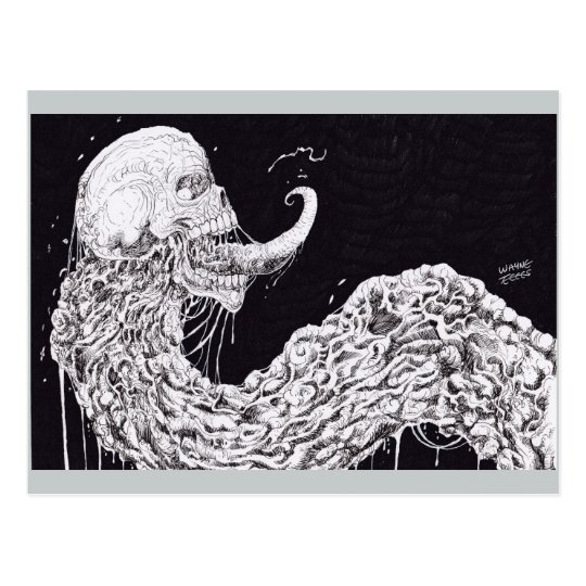 Horror Skull Serpent Fantasy Art Postcard
