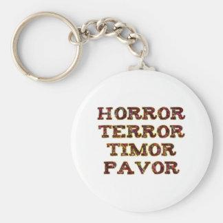 horror terror timor pavor basic round button key ring