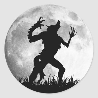 Horror Werewolf Full Moon Transformation - Cool Classic Round Sticker