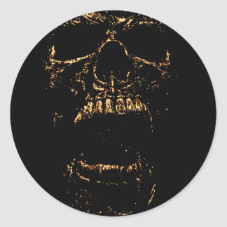 Horrorstuff Golden Skull Classic Round Sticker