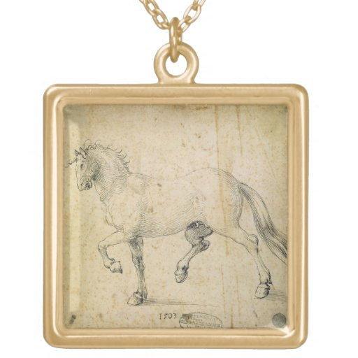 Horse, 1503 (pen and ink on paper) personalized necklace