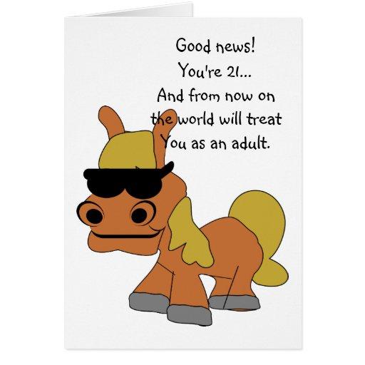 Horse 21st Birthday Greeting Card