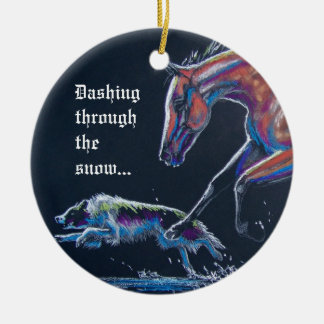 Horse and Border Collie Christmas Ornament