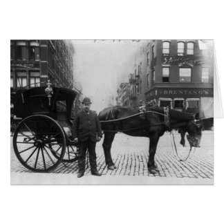 Horse and Buggy with Driver in New York City Card