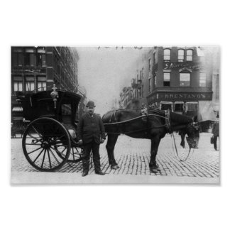 Horse and Buggy with Driver in New York City Poster